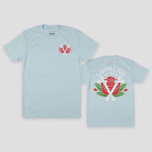 Image of ROSE & BONES TEE (LIGHT BLUE)