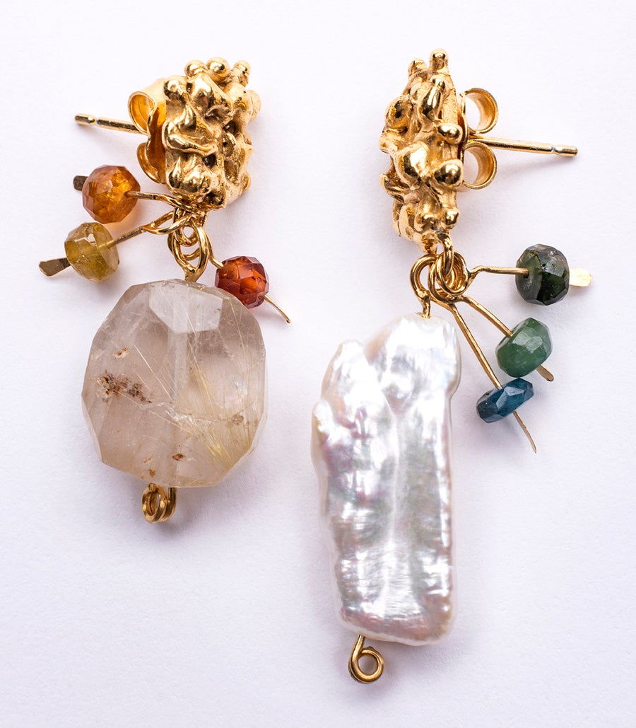 Image of Plethora earrings- Reticulated Quartz