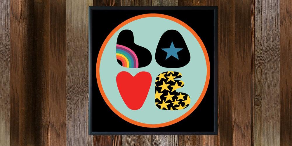 """Image of 12"""" signed digital badge print, signed - LOVE"""