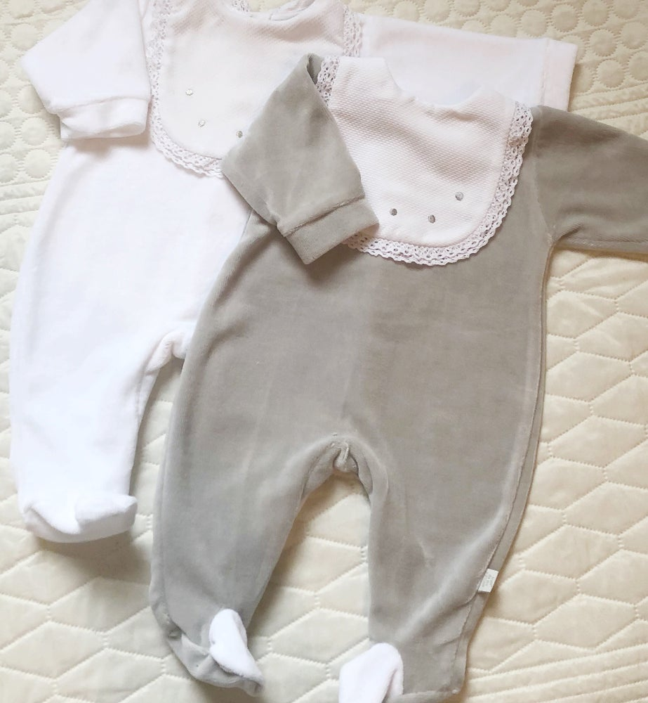 Image of Velour bib romper