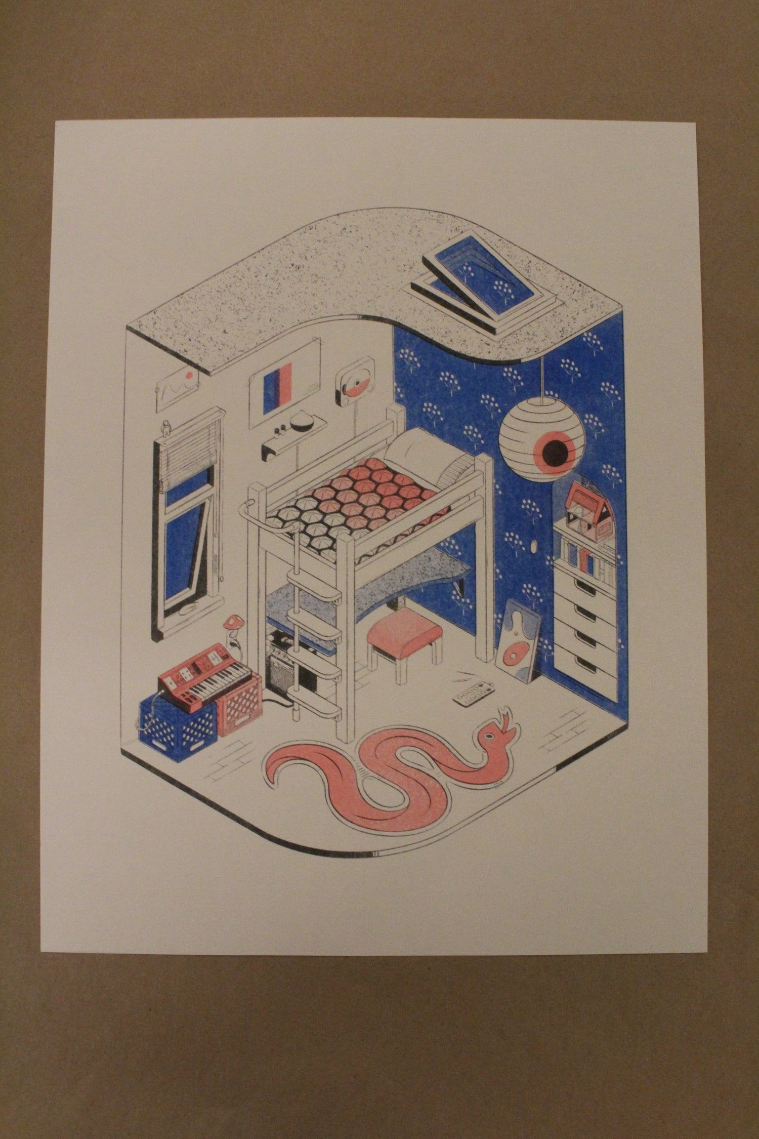 "Image of Violet Reed ""Dream Bedroom"" 3-layer Risograph Print"