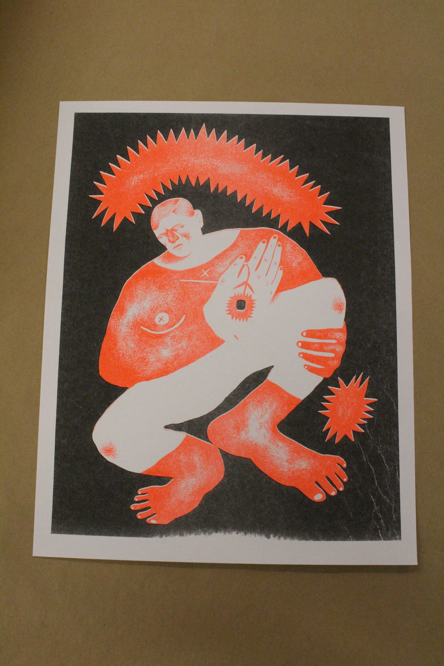"Image of Pace Taylor ""Orange Figure"" Risograph Print"