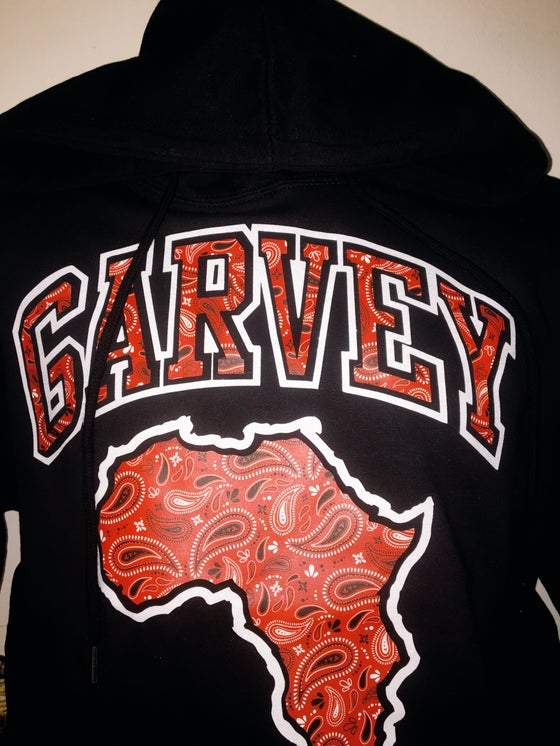 Image of GARVEY BLOOD RED PAISLEY White Diamonds Black Hoody