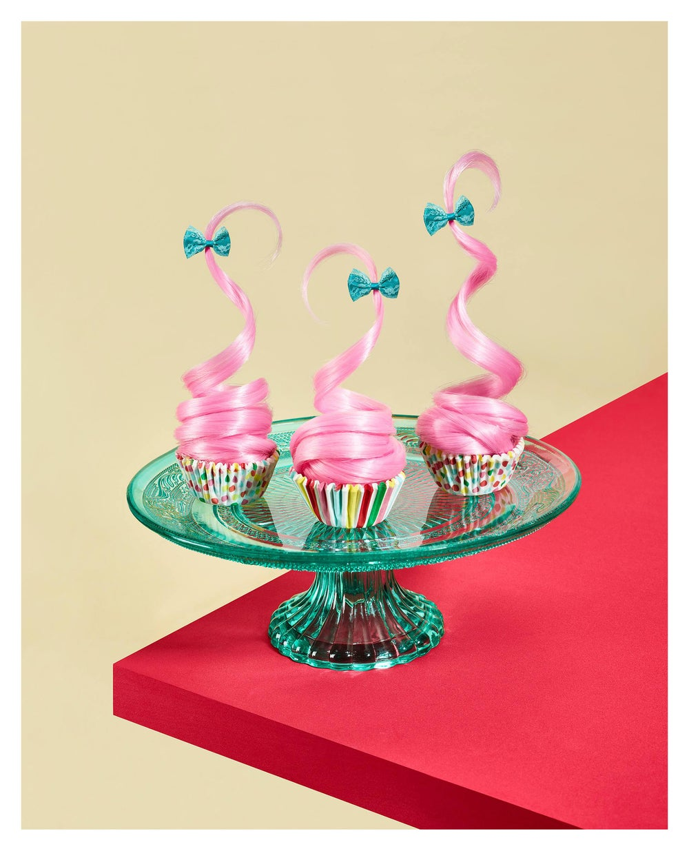 Image of Pink Hair-Strawberry Cupcakes