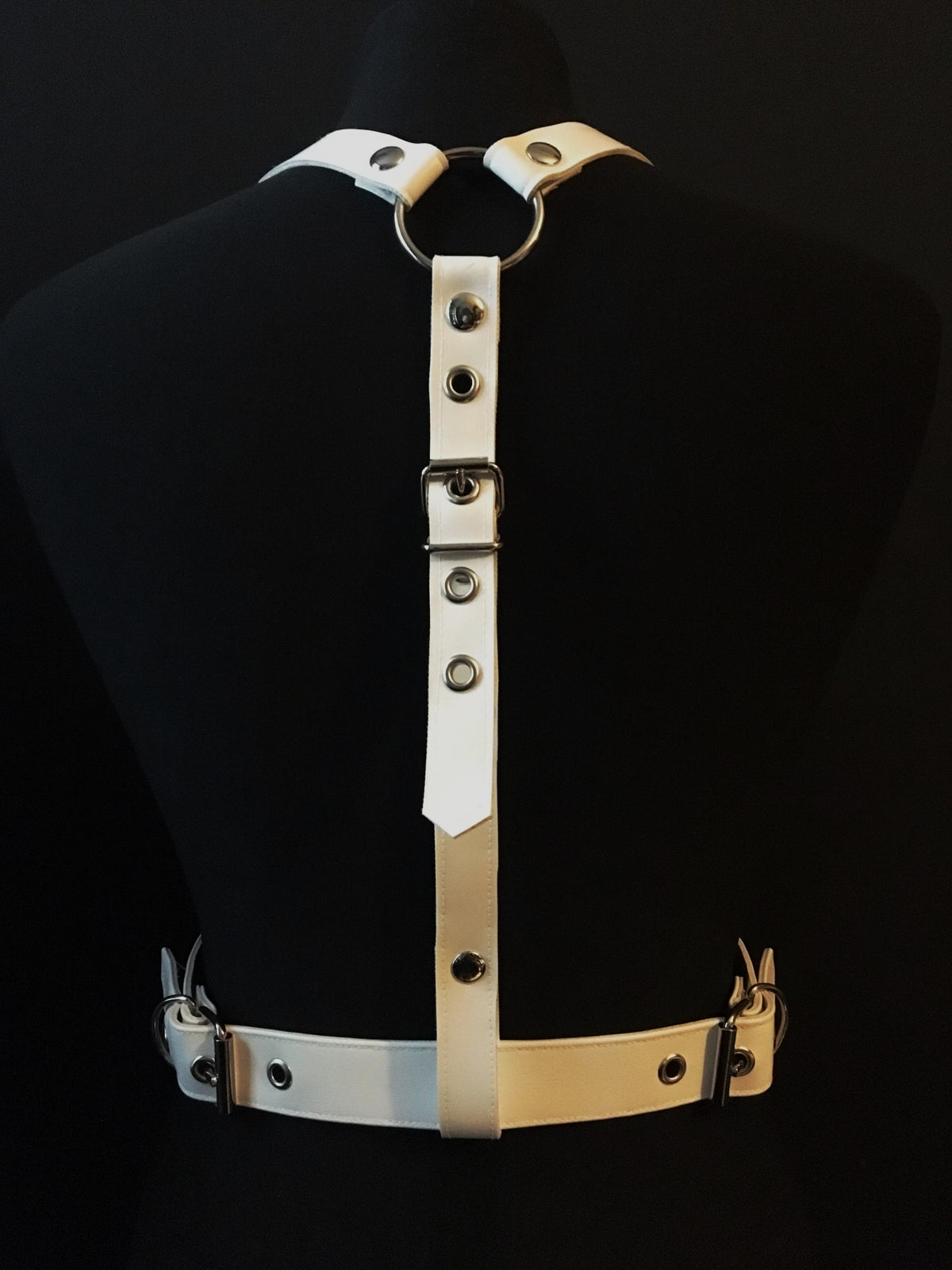 Gotte harness white vegan leather