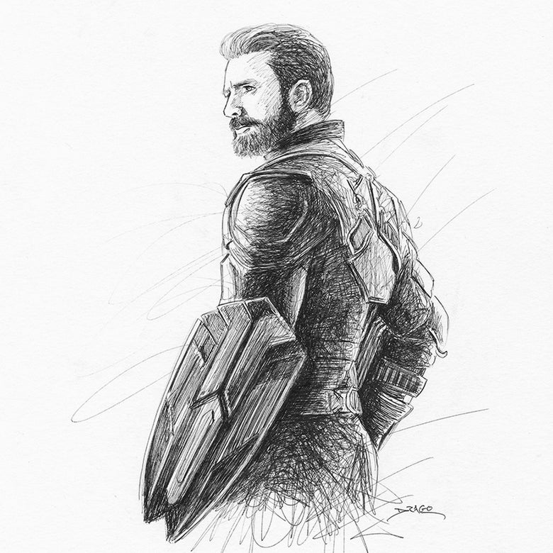 Image of Captain America Doodle (Original Drawing)