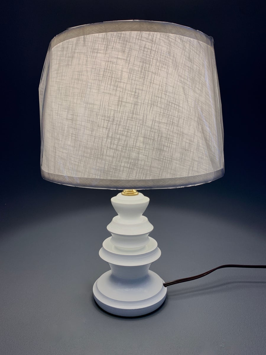 Image of Hand Crafted Turned Wood Lamp Finished In Hand Painted Gloss White.  Stephanie No 1