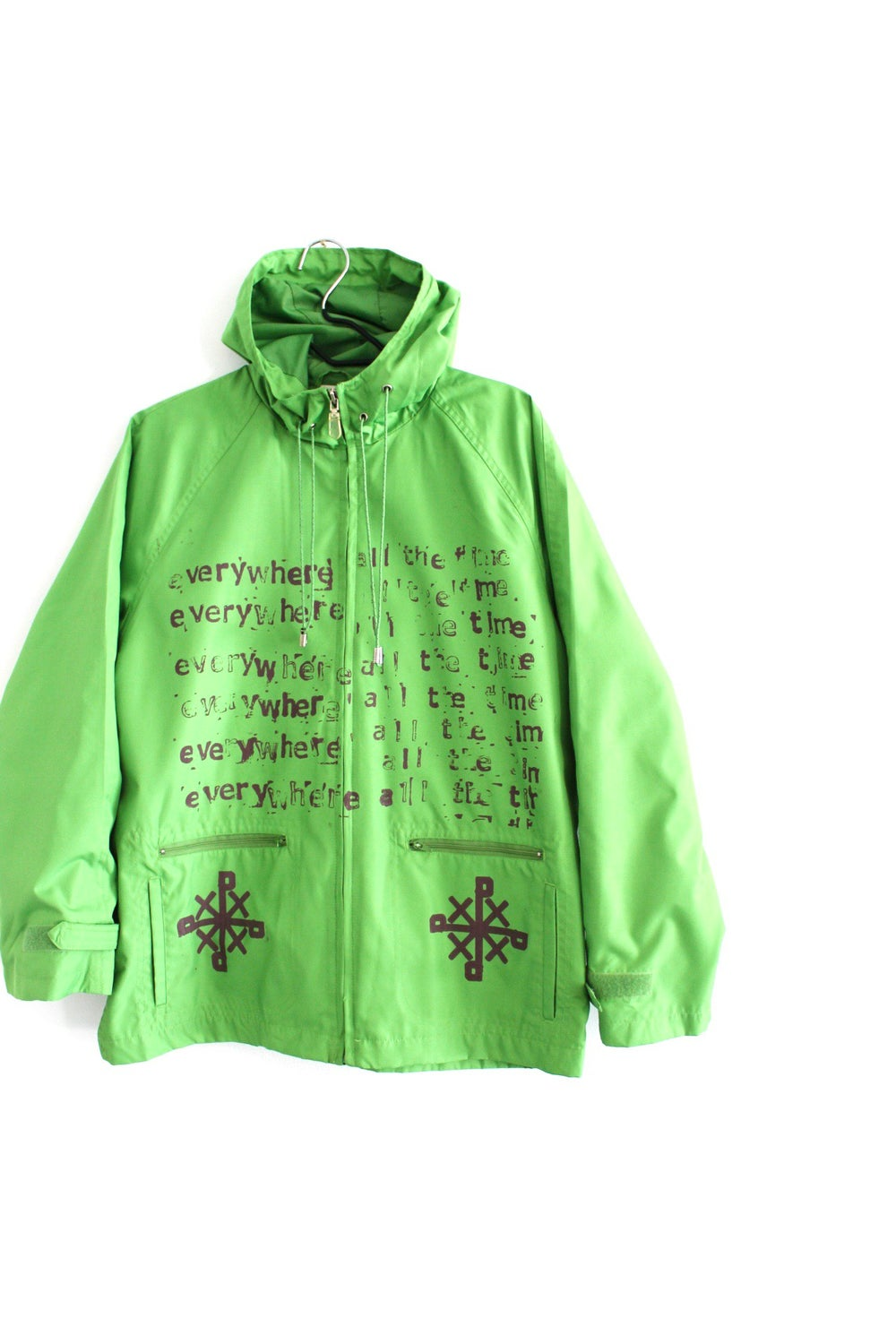 everywhere all the time rain coat in light green