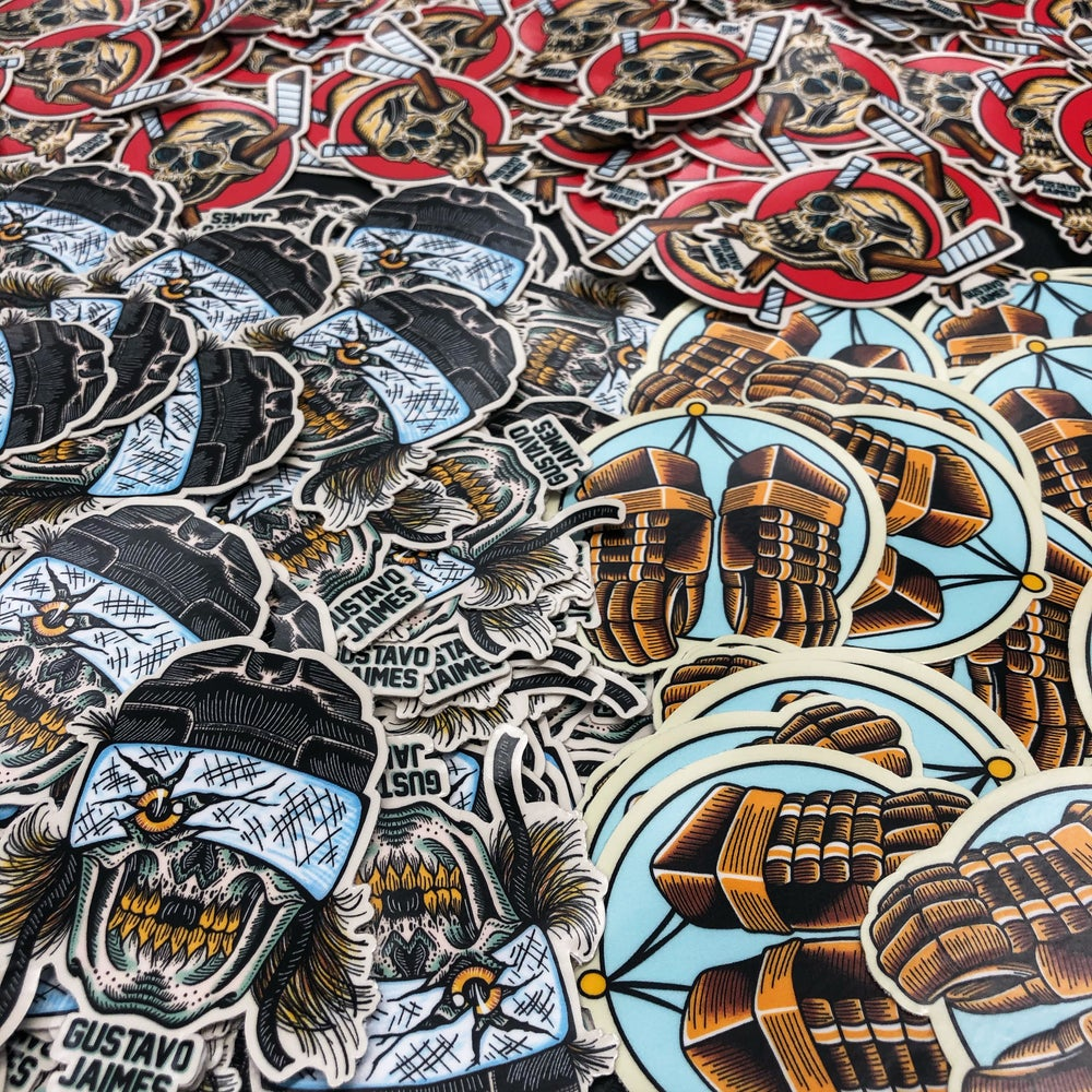 "Image of ""The Hatty"" a 3 pack of die cut stickers."