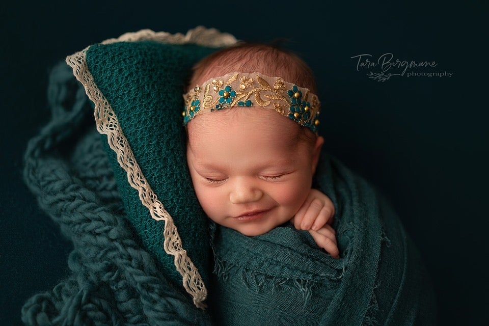 Image of Floral embroidery gold/teal headband