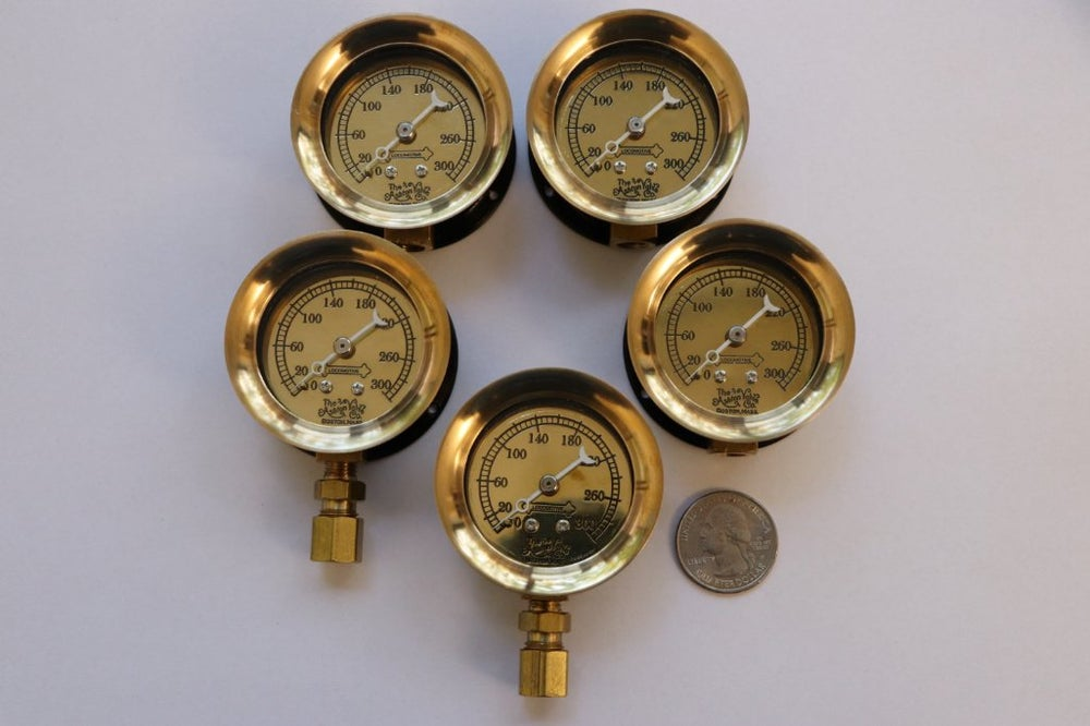 Image of 300 PSI Brass Locomotive Gauge