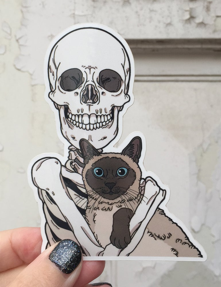 Image of Siamese cat friend sticker
