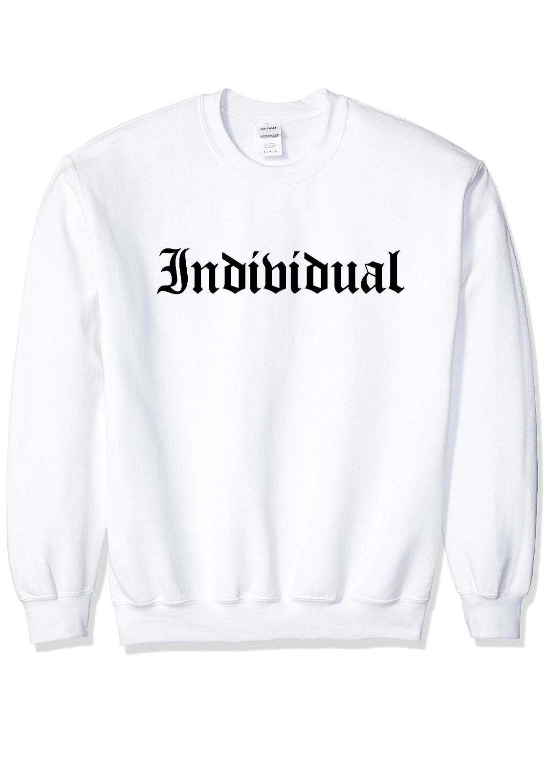 Image of INDI Old English White Crewneck / Long Sleeve Tshirt