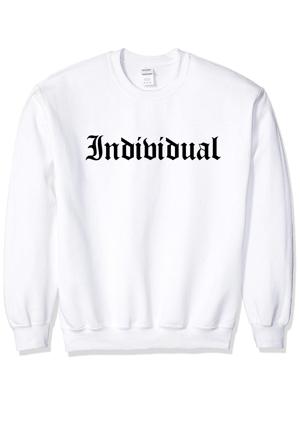 Image of INDI Old English White / Black Crewneck + Long Sleeve Tshirt