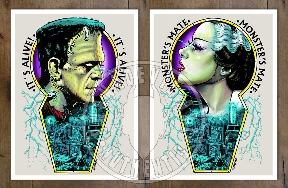 Image of Frankenstein Monster and Bride of Frankenstein set of 2 prints