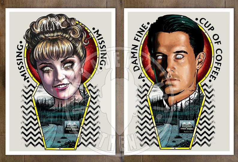 Image of Laura Palmer and Agent Cooper from Twin Peaks set of 2 prints