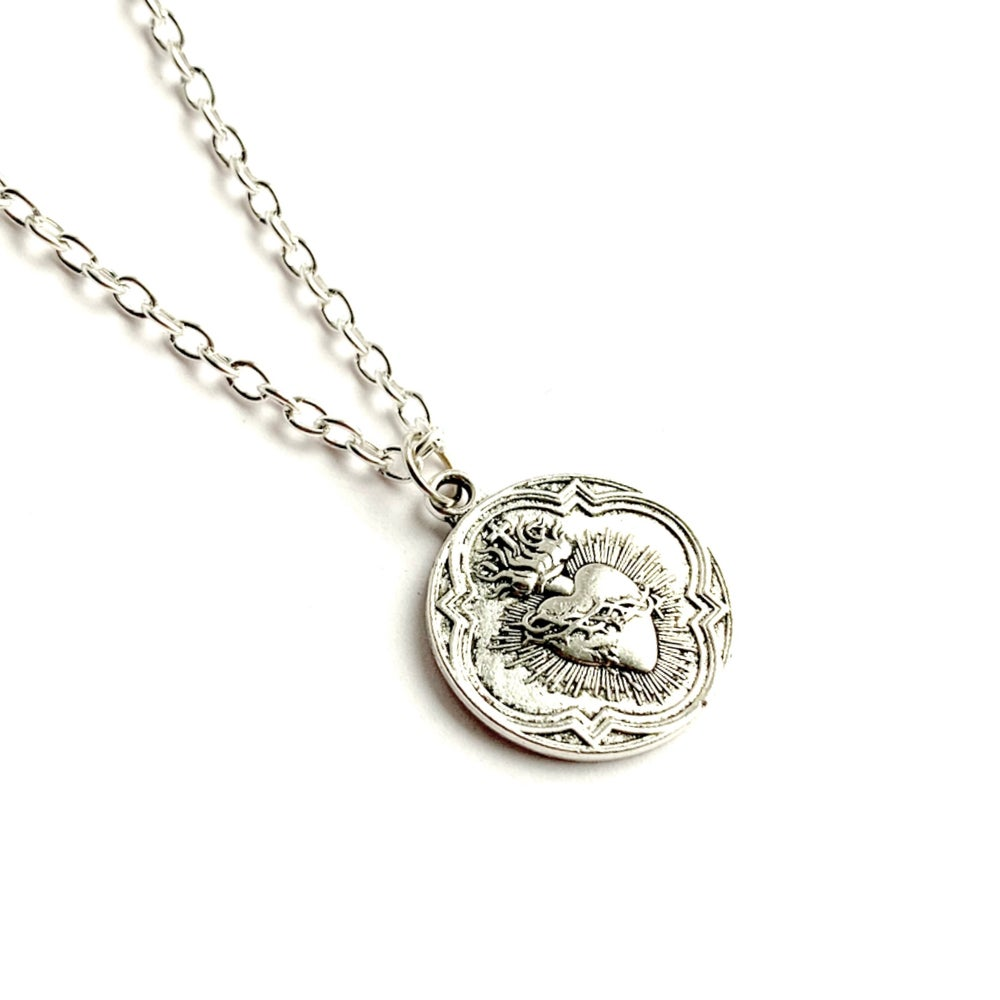 Image of Sacred Heart coin necklace