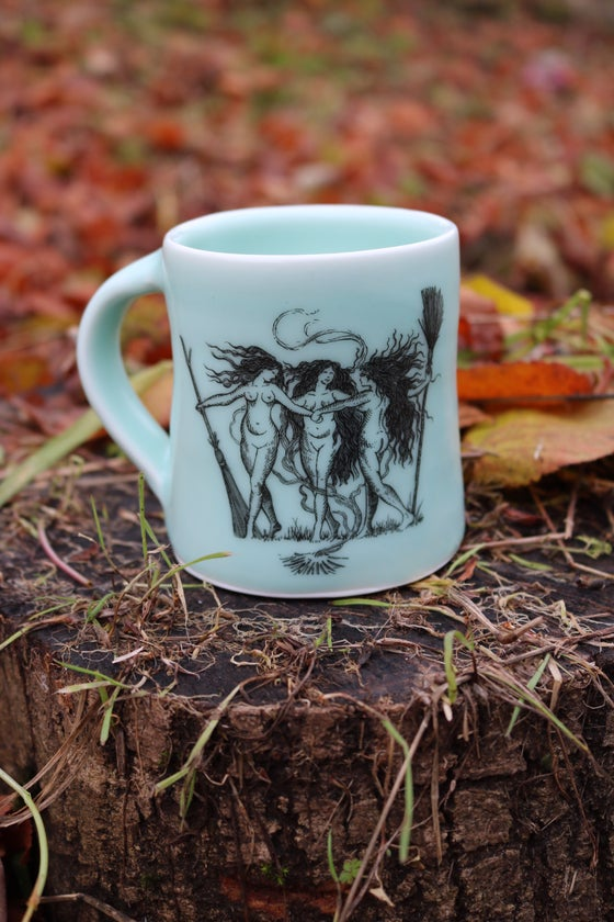 "Image of ""Our coven"" porcelain mugs sea foam green"