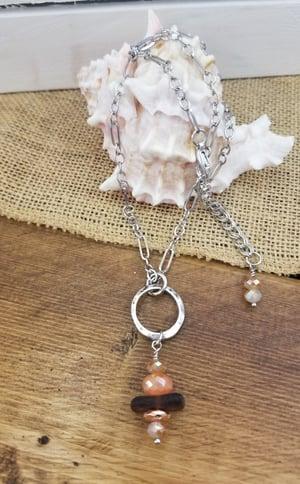 Image of Sea Glass-Agate-Copper Hematite-Necklace-#250