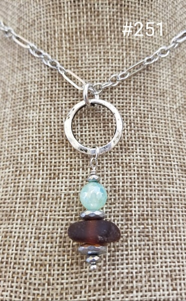 Image of Sea Glass-Agate-Hematite-Necklace-#251