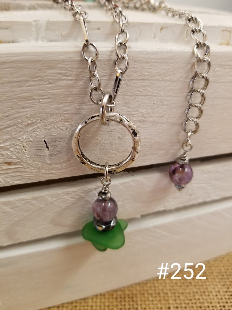 Image of Sea Glass-Purple Phantom Quartz-Necklace-#252