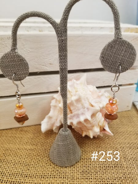 Image of Sea Glass-Agate-Copper Hematite-Earrings-#253