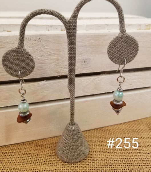 Image of Sea Glass-Agate-Hematite-Earrings-#255
