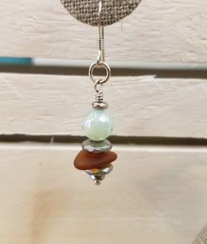 Image of Sea Glass-Agate-Hematite-Earrings-#255