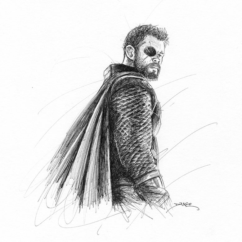 Image of Thor Doodle (Original Drawing)