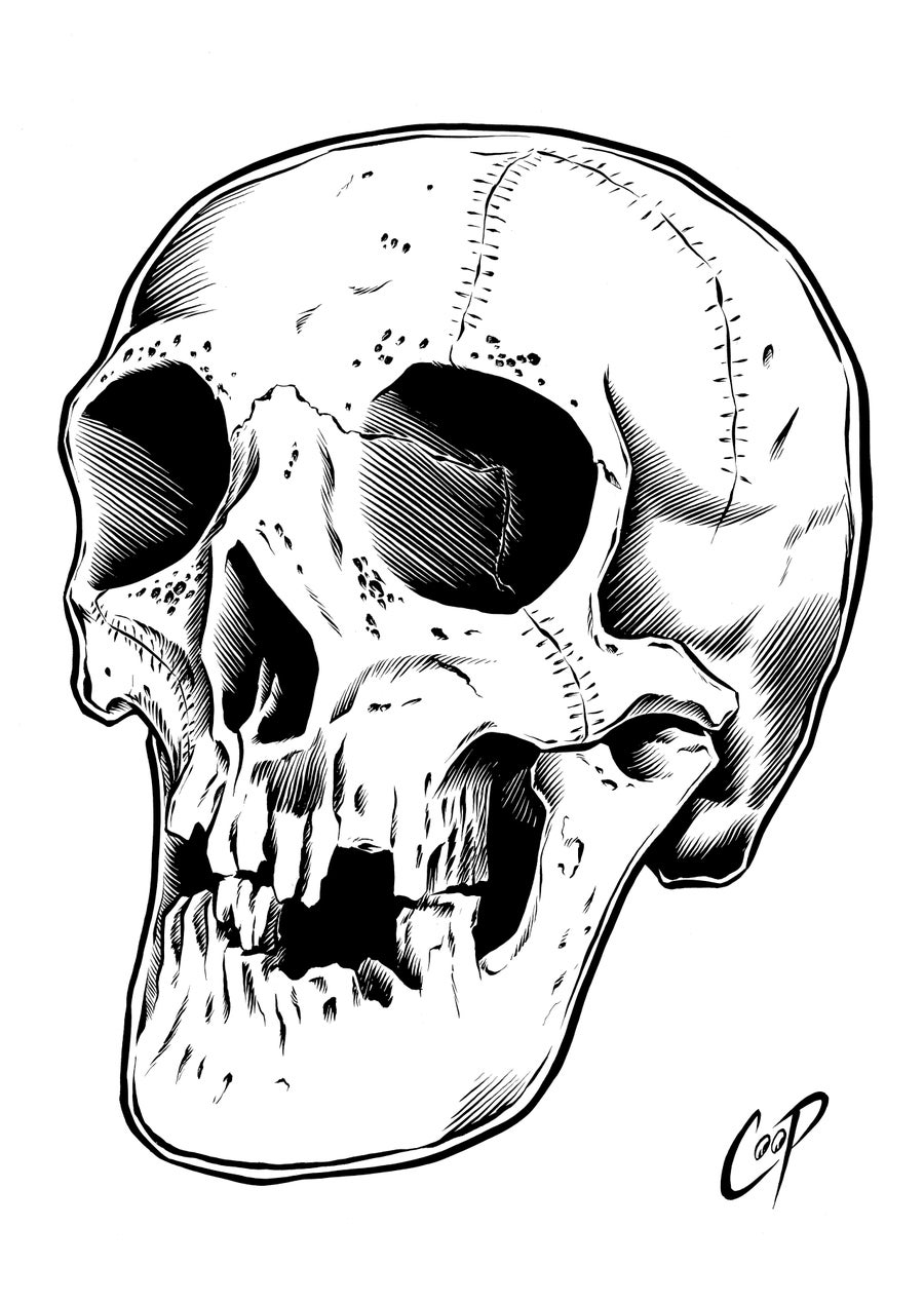 Image of HAUNTED SKULL original art