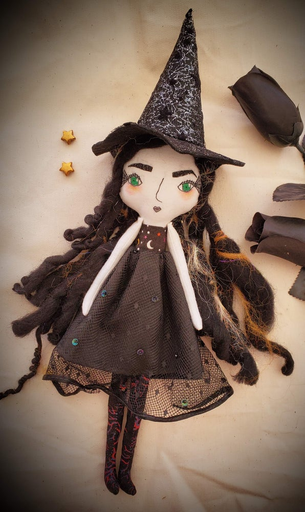 Image of Goth Mommy witch handmade doll