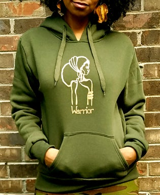 Image of The Warrior Hoodie in Olive Green with khaki design