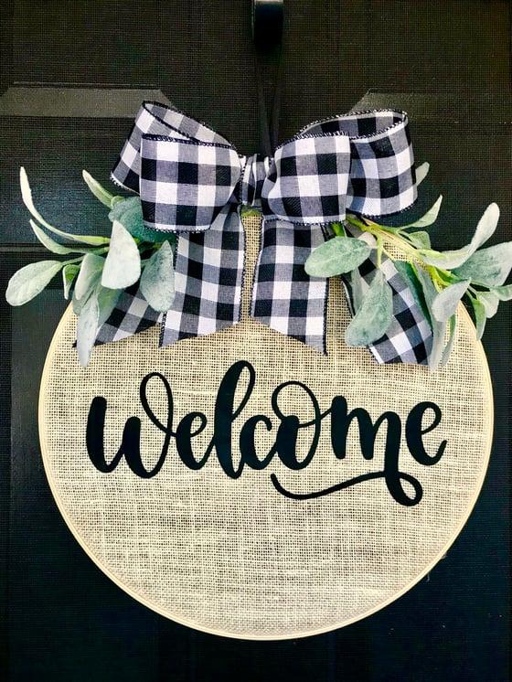 Image of Welcome Burlap Door Hanger