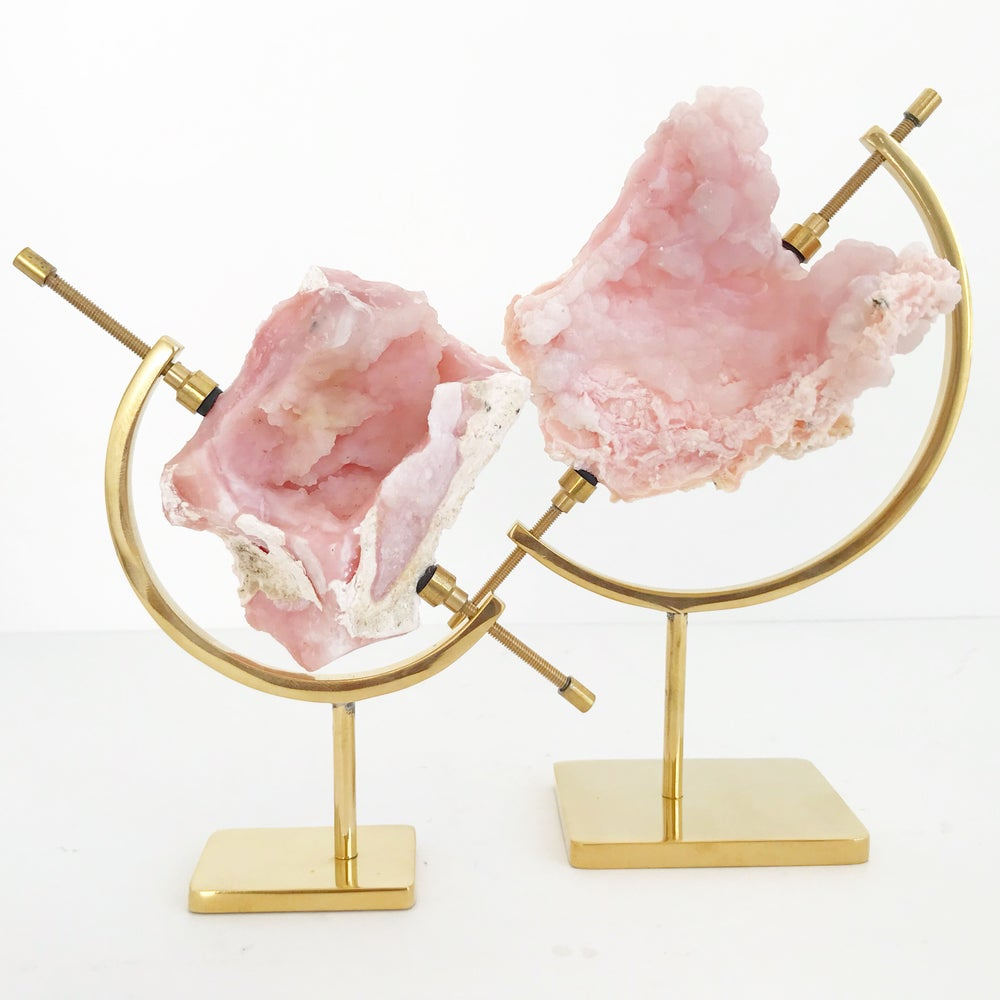 Image of Pink Opal no.36 + Brass Arc Stand