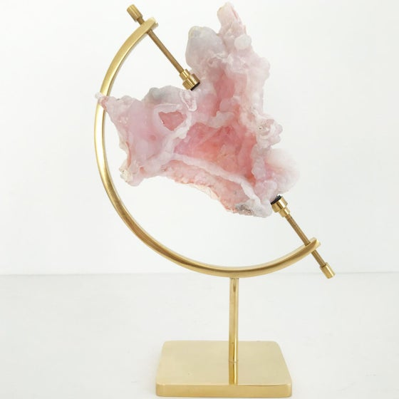 Image of Pink Opal no.95 + Brass Arc Stand