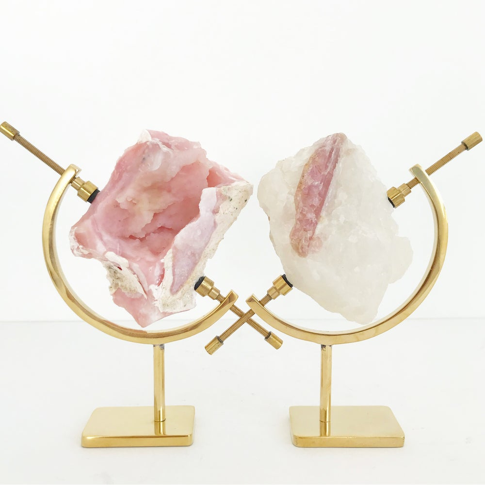 Image of Pink Opal no.57 + Brass Arc Stand
