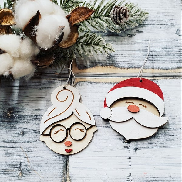 Image of Mr. & Mrs. Claus Wooden Layered Ornaments - Craft at Home Kit