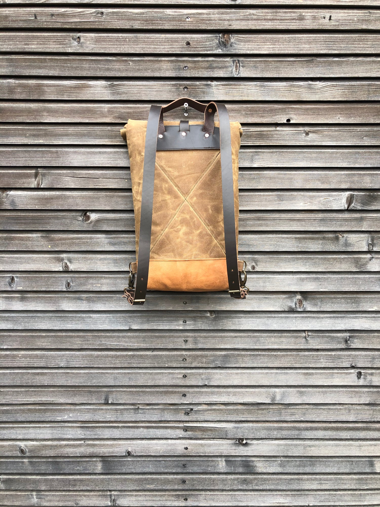 Image of Small waxed canvas backpack / Hipster Backpack with rolled top and leather shoulder straps