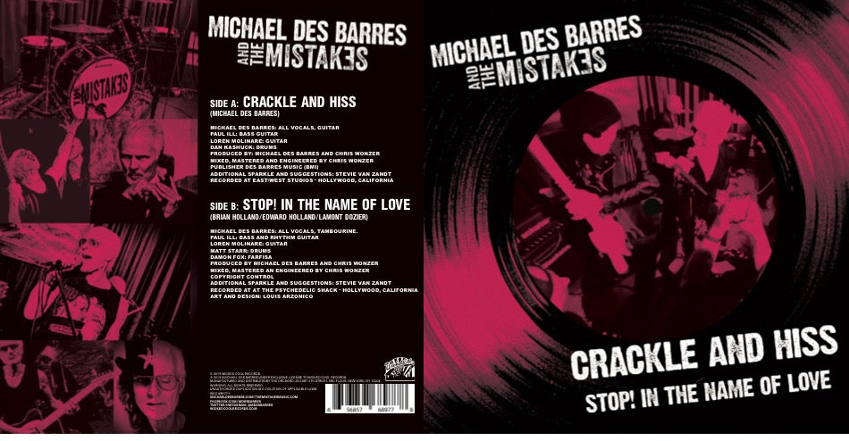 Crackle and Hiss, B/W Stop! In The Name Of Love. Autographed Pink Vinyl.