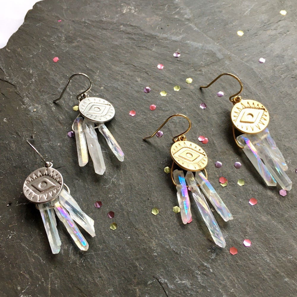 Image of Iridescent Eye Earrings - Aura Quartz Crystal