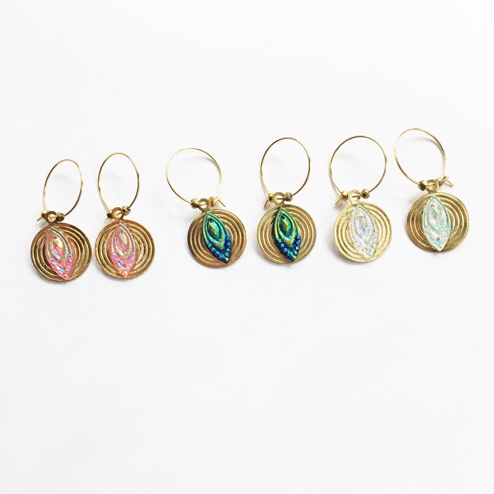 Image of Sun Jewel Hoop Earrings