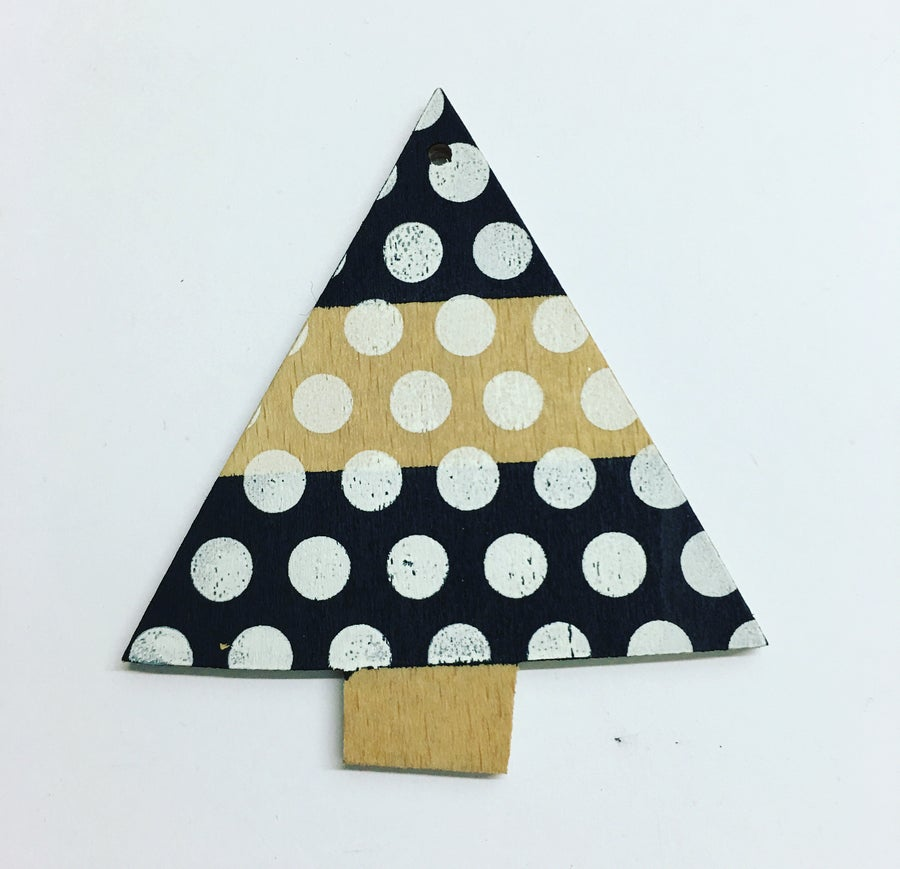 Image of Xmas Tree Decoration - Hand Screen Printed