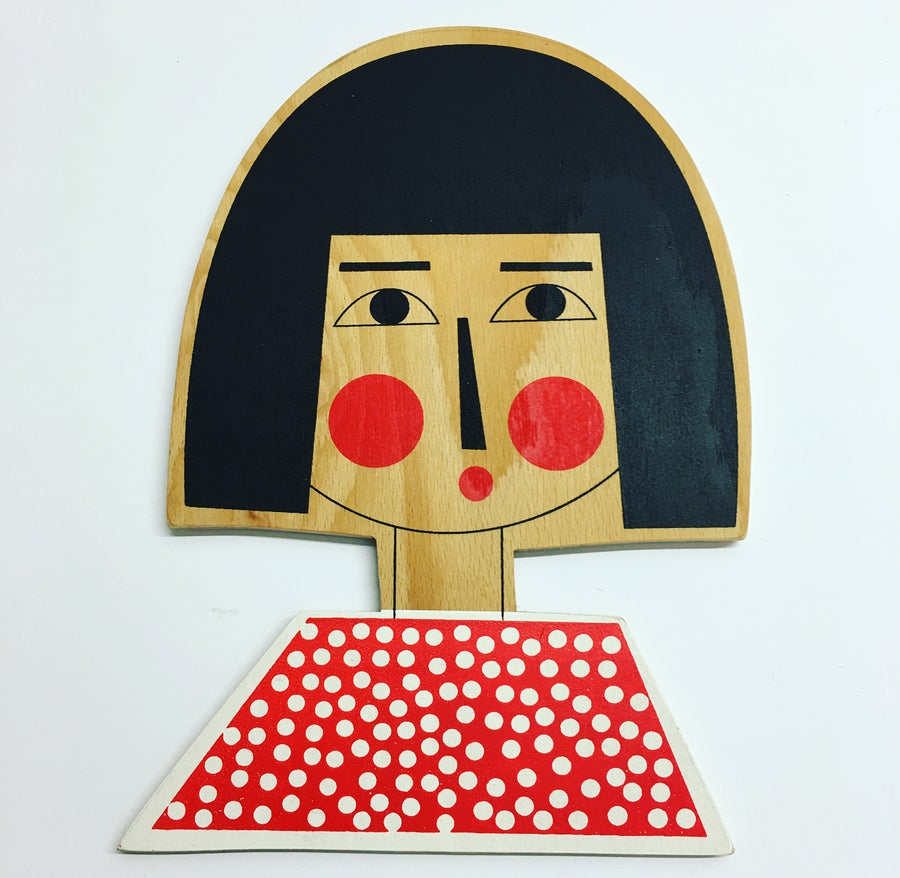 Image of Dotty Bob Girl - Hand Screen Printed Wall Plaque