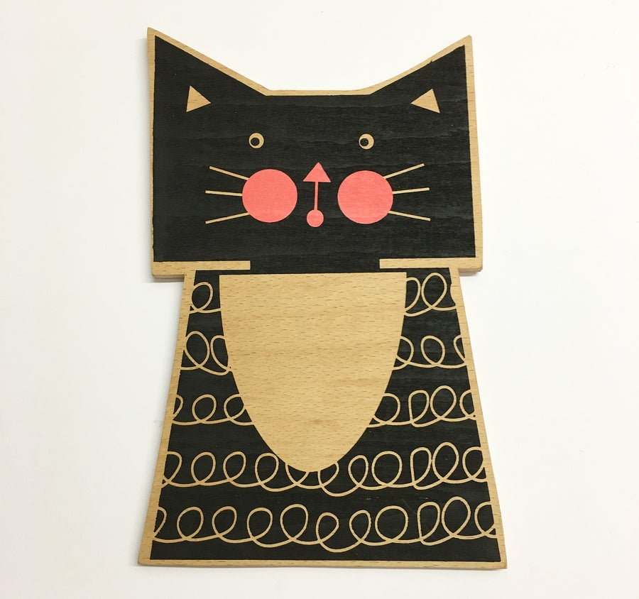 Image of Kitty Cat Hand Screen Printed Wall Plaque