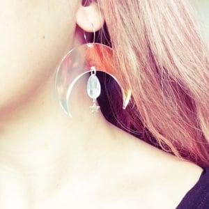 Image of Moon Goddess Jewel Hoop Earrings