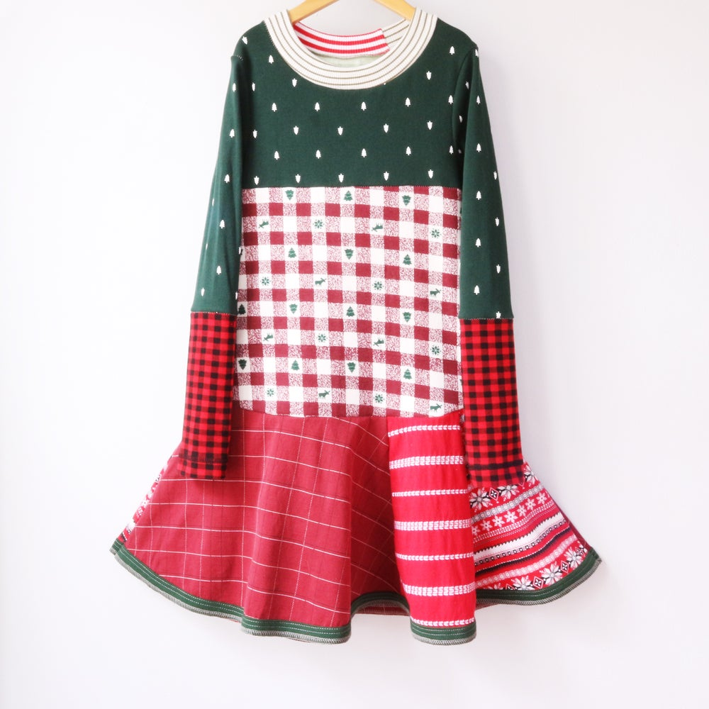 Image of forest green plaid twirl 8/10 Christmas holiday trees green stripes long sleeve twirly layer dress
