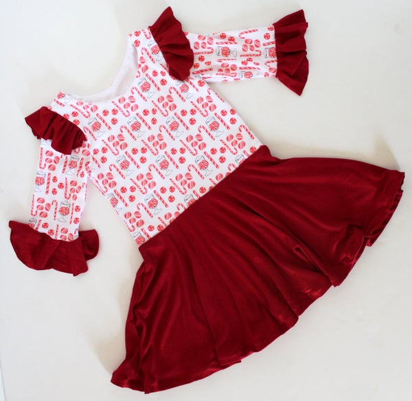 Image of Candy Cane Heart Back Twirl Dress
