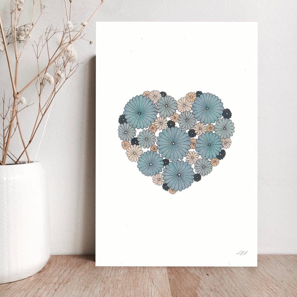 Image of Carte Coeur  bleu