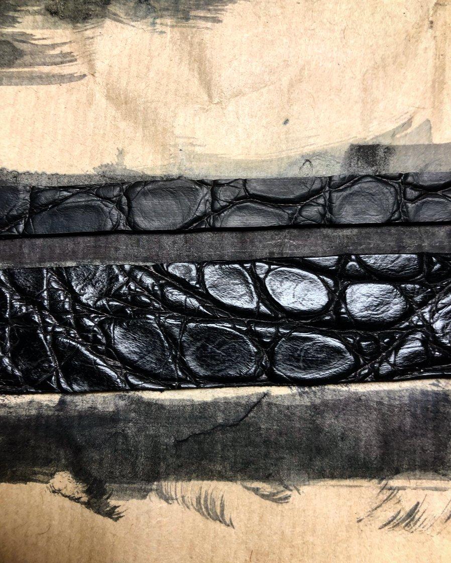 Image of Black hand painted crocodile belt