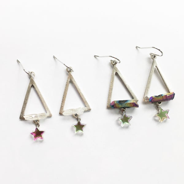 Image of Pyramid Jewel Earrings - Silver Tone